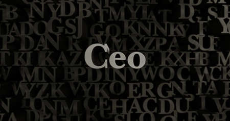 ceo: Ceo - 3D rendered metallic typeset headline illustration.  Can be used for an online banner ad or a print postcard. Stock Photo