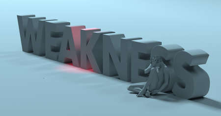 flawed: Flawed depressed man sitting near Weakness text sign, 3d render illustration