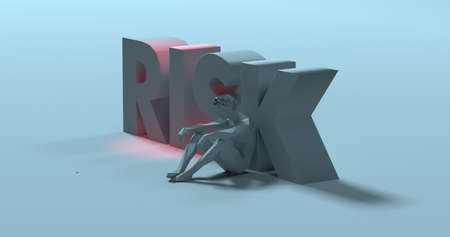 Conflicted sad man, low poly 3d render, thinking near Risk text sign illustration