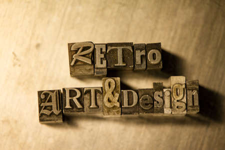 letterpress blocks: Lead metal Retro art & design typography text on wooden background