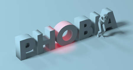 phobia: Man grabbing his head in fear, 3d render near Phobia text sign illustration Stock Photo
