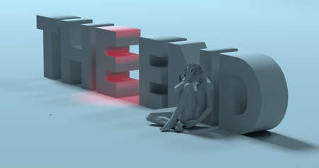 suicidal: Sad, depressed man low poly 3d render near The End lettering sign illustration Stock Photo