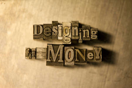 designing: Bronze Designing for money typography lettering on wooden background