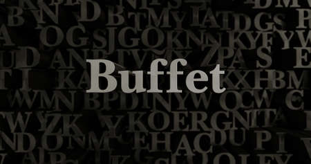 buffet: Buffet - 3D rendered metallic typeset headline illustration.  Can be used for an online banner ad or a print postcard. Stock Photo