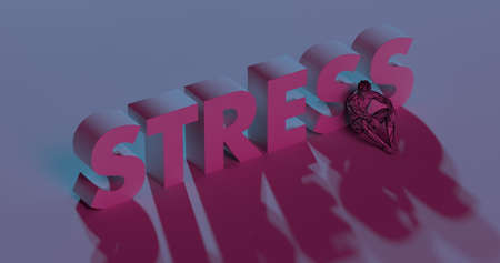 conflicted: Red Stress lettering sign near sad conflicted man, low poly 3d illustration