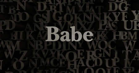 babe: Babe - 3D rendered metallic typeset headline illustration.  Can be used for an online banner ad or a print postcard.