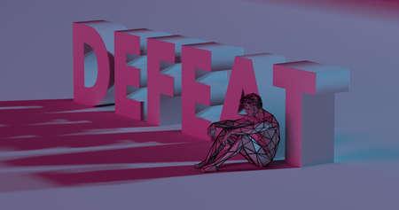 Sad beaten man near red Defeat text sign, 3d render low poly illustration
