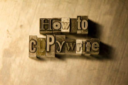 letterpress blocks: Lead metal How to copywrite text on wooden background