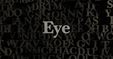 eye 3d: Eye - 3D rendered metallic typeset headline illustration.  Can be used for an online banner ad or a print postcard.
