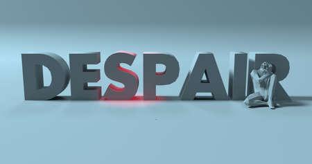 Broken sad man 3d render near despair text sign illustration Фото со стока