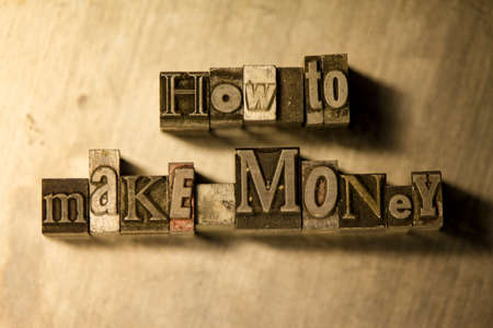 letterpress blocks: How to make money text on wooden background illustration