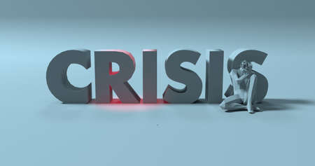 Crisis lettering text next to stressed sitting man 3d render illustration Stock Photo