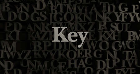 Key - 3D rendered metallic typeset headline illustration.  Can be used for an online banner ad or a print postcard. Stock Photo