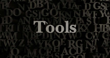Tools - 3D rendered metallic typeset headline illustration.  Can be used for an online banner ad or a print postcard. Stock Photo