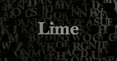 Lime - 3D rendered metallic typeset headline illustration.  Can be used for an online banner ad or a print postcard.