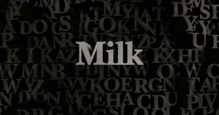 Milk - 3D rendered metallic typeset headline illustration.  Can be used for an online banner ad or a print postcard.