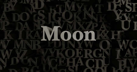 Moon - 3D rendered metallic typeset headline illustration.  Can be used for an online banner ad or a print postcard.