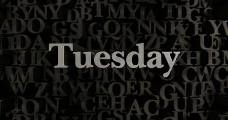 tuesday: Tuesday - 3D rendered metallic typeset headline illustration.  Can be used for an online banner ad or a print postcard. Stock Photo