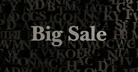 Big Sale - 3D rendered metallic typeset headline illustration.  Can be used for an online banner ad or a print postcard. Stock Photo