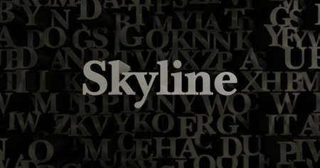 Skyline - 3D rendered metallic typeset headline illustration.  Can be used for an online banner ad or a print postcard. Stock Photo