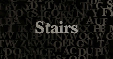 Stairs - 3D rendered metallic typeset headline illustration.  Can be used for an online banner ad or a print postcard.