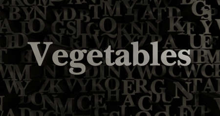 Vegetables - 3D rendered metallic typeset headline illustration.  Can be used for an online banner ad or a print postcard. Stock Photo