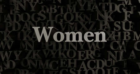Women - 3D rendered metallic typeset headline illustration.  Can be used for an online banner ad or a print postcard.