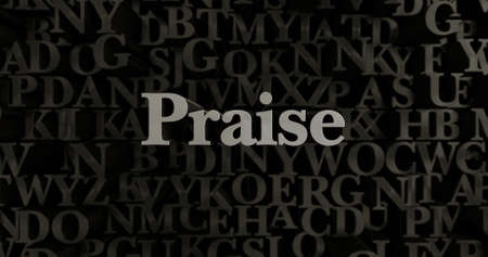 praise: Praise - 3D rendered metallic typeset headline illustration.  Can be used for an online banner ad or a print postcard. Stock Photo