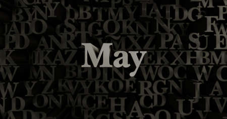 May - 3D rendered metallic typeset headline illustration.  Can be used for an online banner ad or a print postcard.