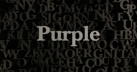 Purple - 3D rendered metallic typeset headline illustration.  Can be used for an online banner ad or a print postcard.