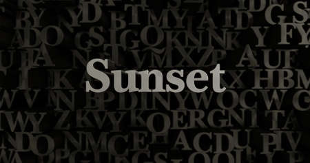 Sunset - 3D rendered metallic typeset headline illustration.  Can be used for an online banner ad or a print postcard. Stock Photo