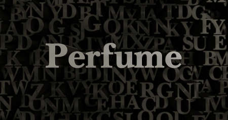 Perfume - 3D rendered metallic typeset headline illustration.  Can be used for an online banner ad or a print postcard.