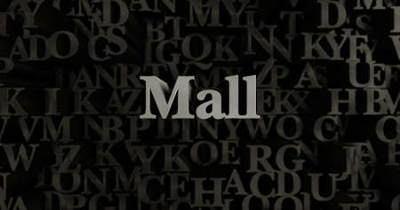 Mall - 3D rendered metallic typeset headline illustration.  Can be used for an online banner ad or a print postcard. Stock Photo