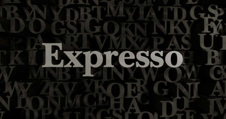 expresso: Expresso - 3D rendered metallic typeset headline illustration.  Can be used for an online banner ad or a print postcard.