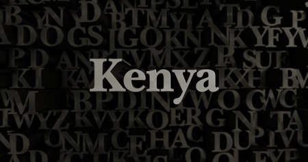kenya: Kenya - 3D rendered metallic typeset headline illustration.  Can be used for an online banner ad or a print postcard.