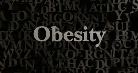 Obesity - 3D rendered metallic typeset headline illustration.  Can be used for an online banner ad or a print postcard. Stock Photo
