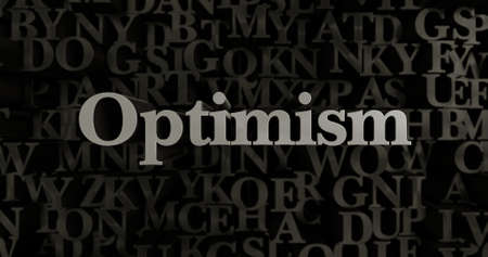 optimism: Optimism - 3D rendered metallic typeset headline illustration.  Can be used for an online banner ad or a print postcard.