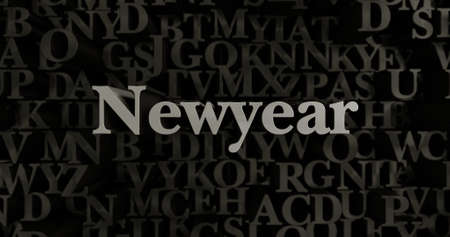 Newyear - 3D rendered metallic typeset headline illustration.  Can be used for an online banner ad or a print postcard.