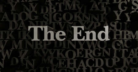 The End - 3D rendered metallic typeset headline illustration.  Can be used for an online banner ad or a print postcard.