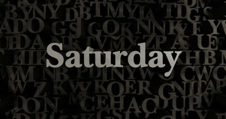 saturday: Saturday - 3D rendered metallic typeset headline illustration.  Can be used for an online banner ad or a print postcard. Stock Photo
