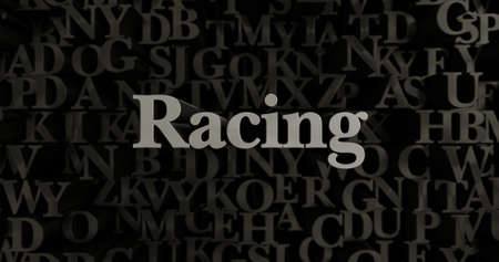 Racing - 3D rendered metallic typeset headline illustration.  Can be used for an online banner ad or a print postcard. Stock Photo