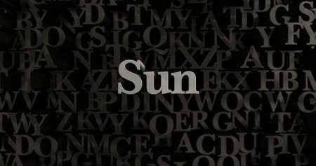 metallic  sun: Sun - 3D rendered metallic typeset headline illustration.  Can be used for an online banner ad or a print postcard.