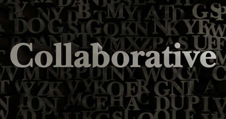 Collaborative - 3D rendered metallic typeset headline illustration.  Can be used for an online banner ad or a print postcard.