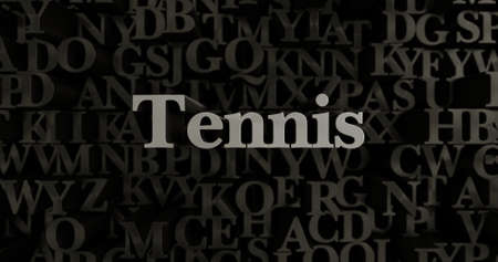 Tennis - 3D rendered metallic typeset headline illustration.  Can be used for an online banner ad or a print postcard.