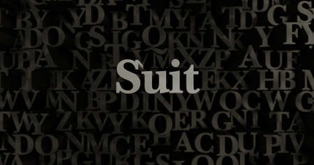 Suit - 3D rendered metallic typeset headline illustration.  Can be used for an online banner ad or a print postcard.