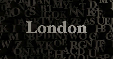 wording: London - 3D rendered metallic typeset headline illustration.  Can be used for an online banner ad or a print postcard. Stock Photo