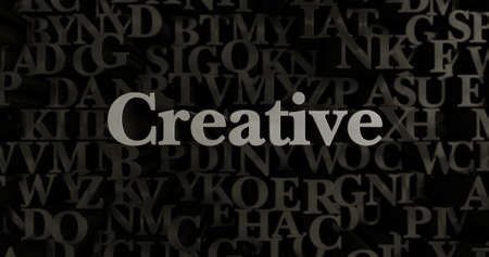 Creative - 3D rendered metallic typeset headline illustration.  Can be used for an online banner ad or a print postcard.