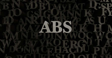 abs: ABS - 3D rendered metallic typeset headline illustration.  Can be used for an online banner ad or a print postcard.