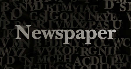 newspaper headline: Newspaper - 3D rendered metallic typeset headline illustration.  Can be used for an online banner ad or a print postcard.