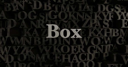 postcard box: Box - 3D rendered metallic typeset headline illustration.  Can be used for an online banner ad or a print postcard.